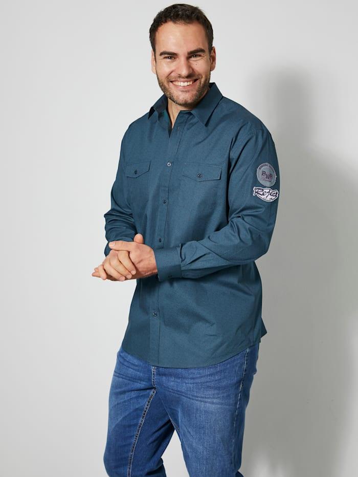 Men Plus Hemd aus reiner Baumwolle, Blau/Petrol