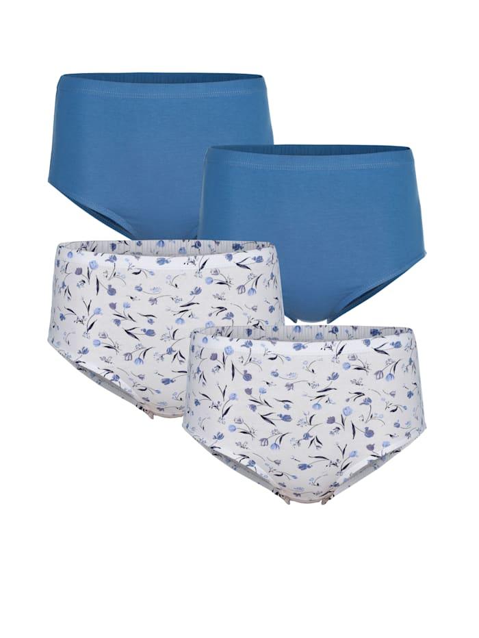 Harmony Taillenslips im 4er-Pack, Weiß/Blau/Dunkelblau