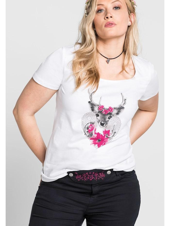 Sheego Sheego Trachtenshirt mit Frontprint, weiß