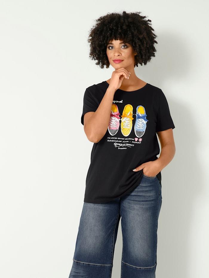 Angel of Style Shirt met sneakermotief, Zwart