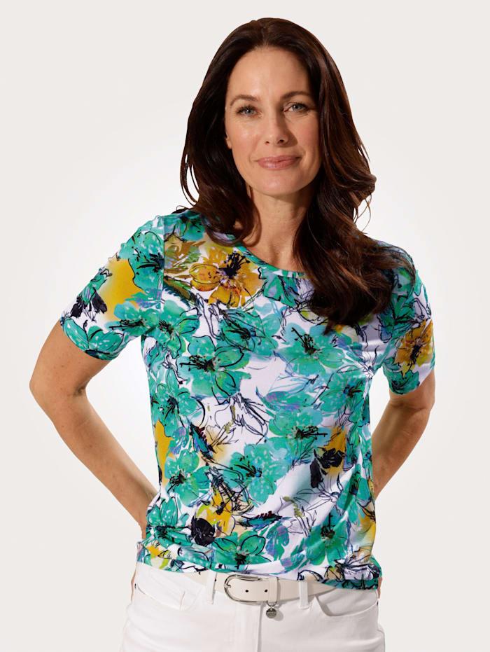MONA Shirt mit floralem Druckmuster, grün-türkis-weiß