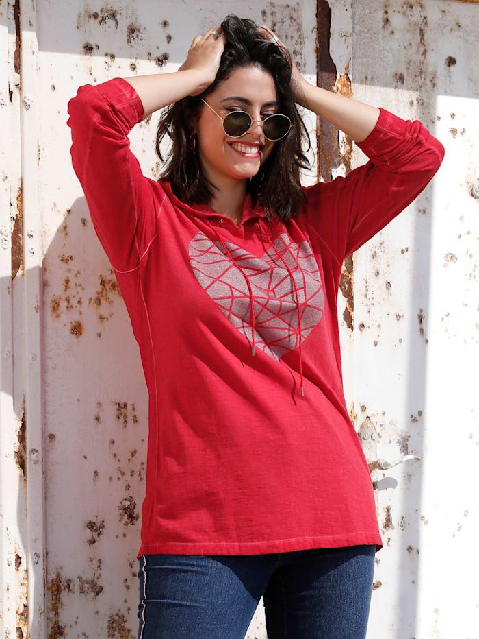 MIAMODA Shirt mit Meshkapuze, Rot
