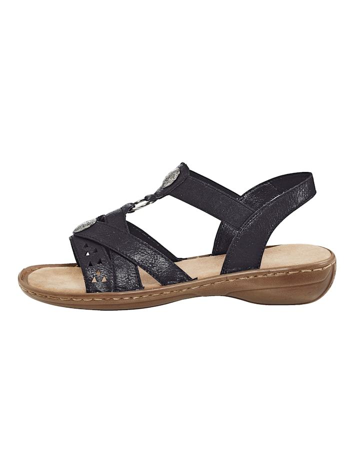 Sandaler med applikation i metall