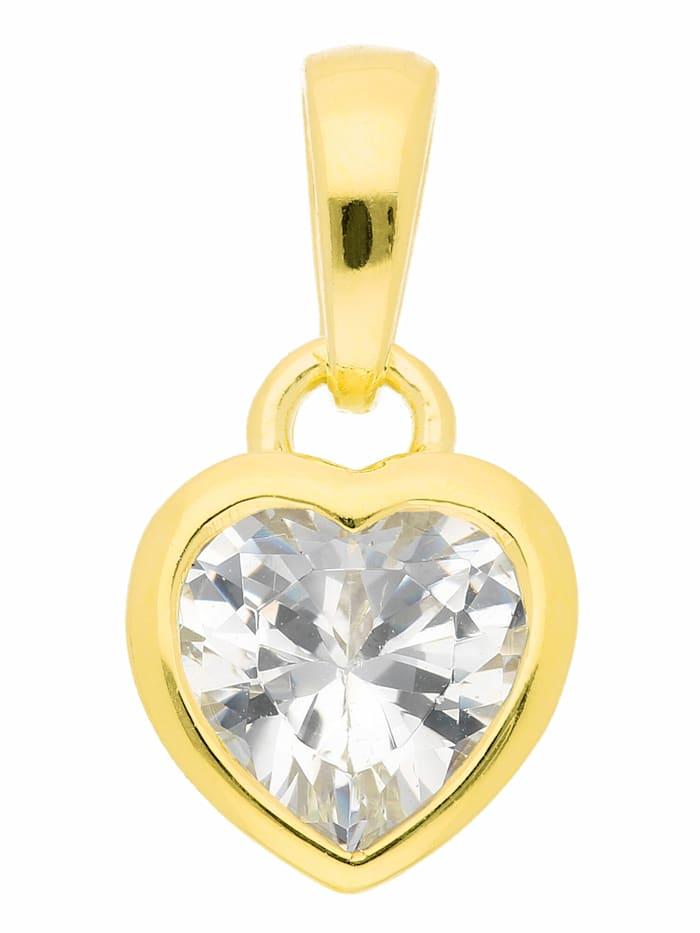 1001 Diamonds Damen Silberschmuck 925 Silber Anhänger Herz mit Zirkonia, vergoldet