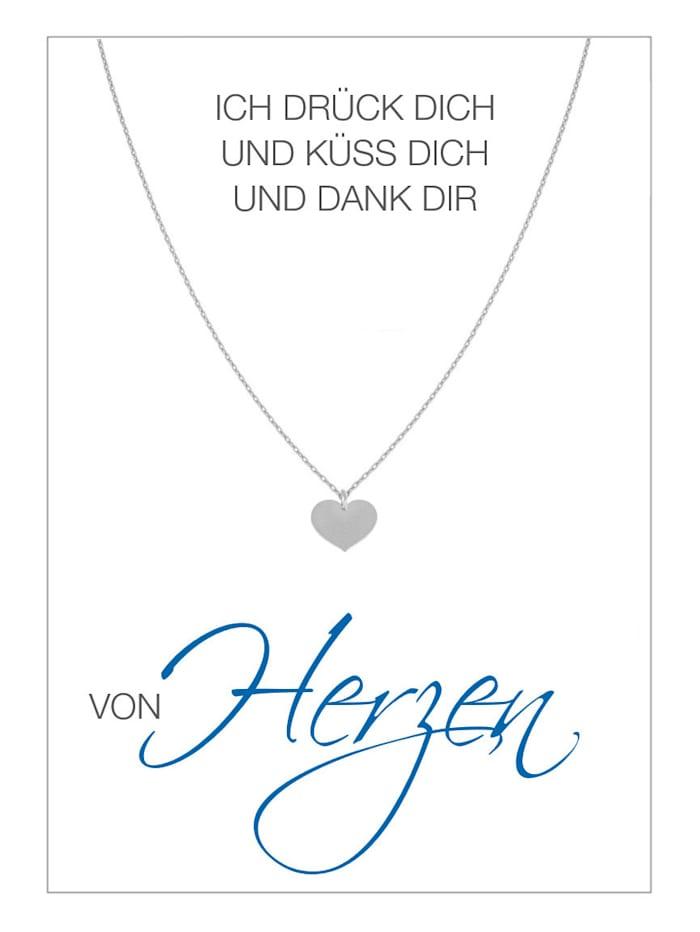 HERZ-KARTE Collier MX 10666 92, Silberfarben