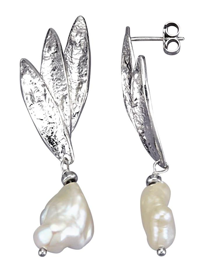 Ohrringe mit Keshiperlen, Weiß