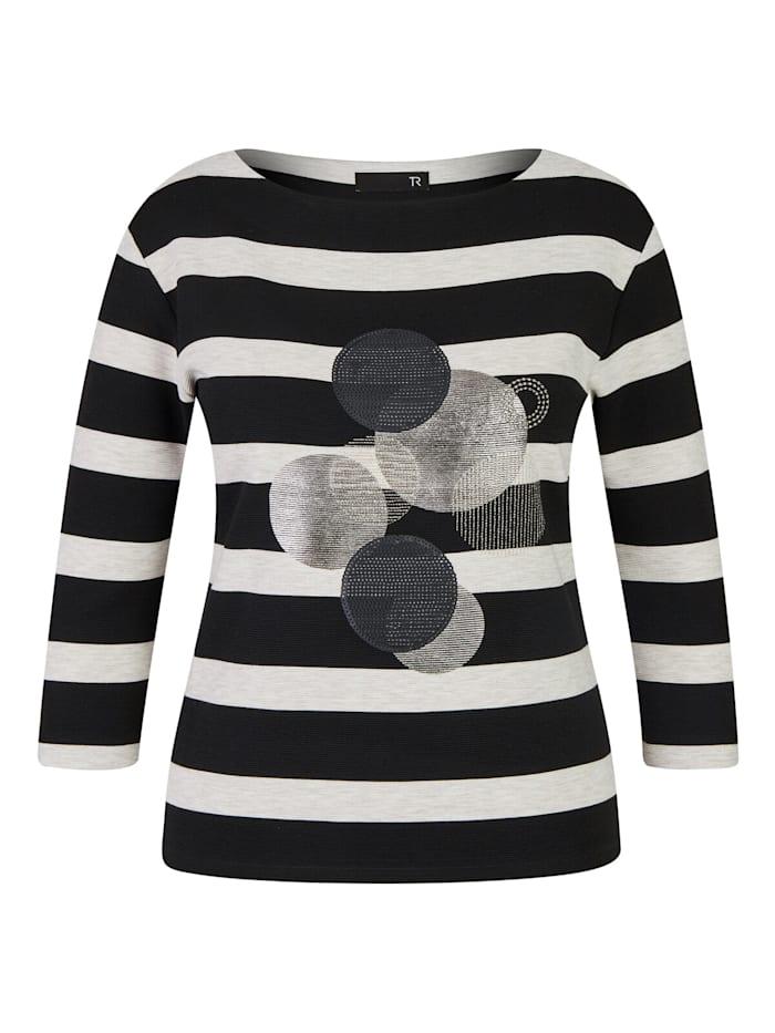 Thomas Rabe Shirt mit gestreiftem Muster und Glitzersteinen, SCHWARZ