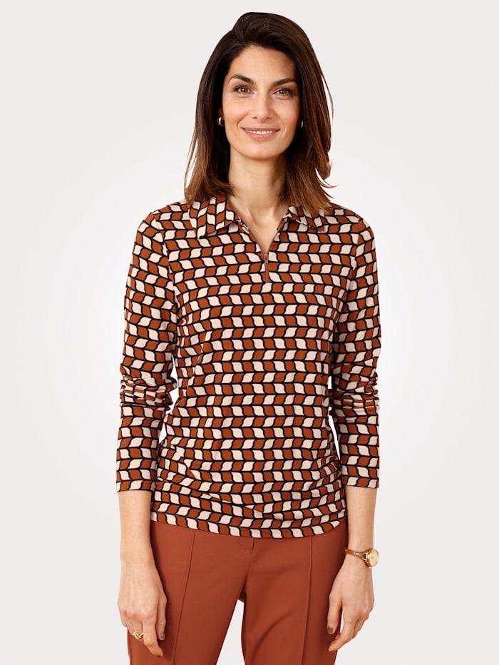 MONA Poloshirt met rits, Roest/Ecru