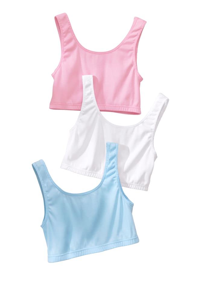 Harmony Bustier in weicher Qualität, 2x weiß,  1x bleu, 1x rosa