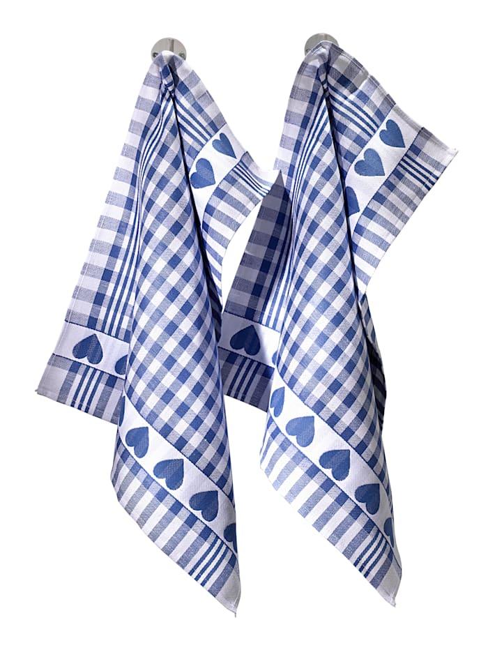 """Kracht Torchon """"cœurs"""" 2 pièces, Bleu"""