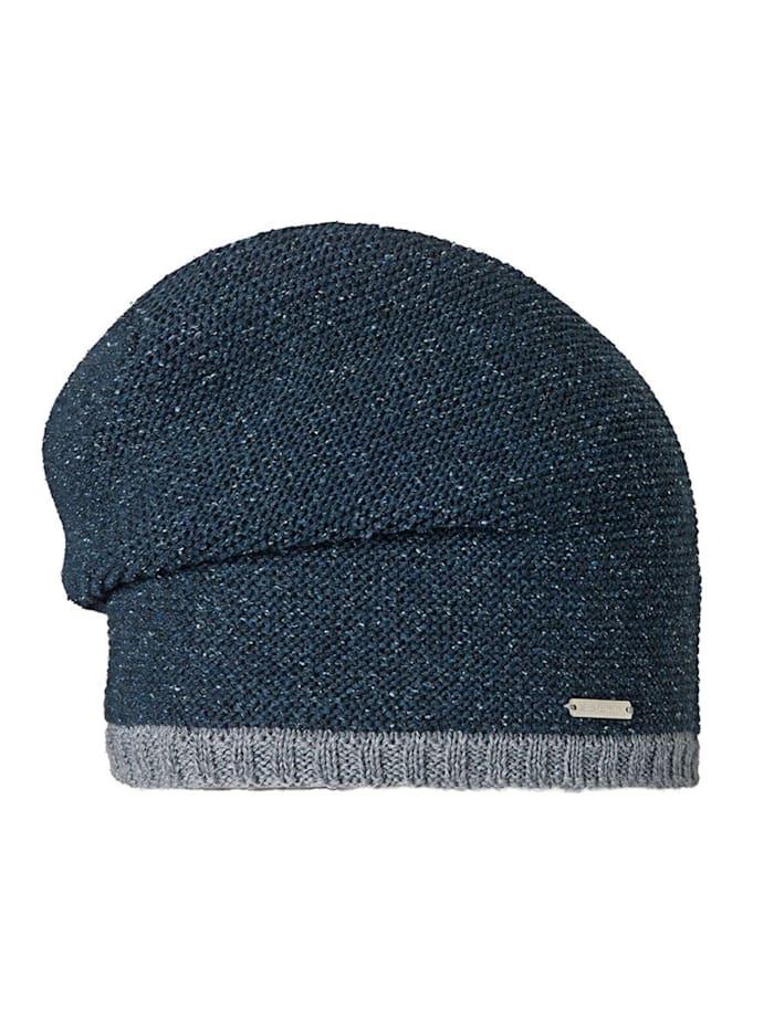 Stöhr FRANZ - Längere lässige Herrenmütze mit linken Maschen im Trachtenstil, Blau