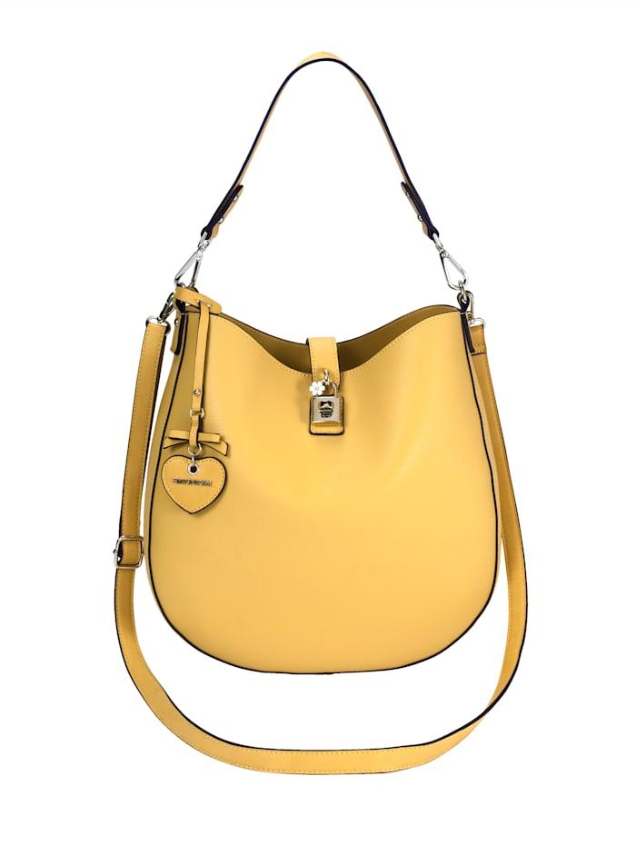EMILY & NOAH Mechová kabelka s malou taštičkou cez plece 2-dielna, Žltá