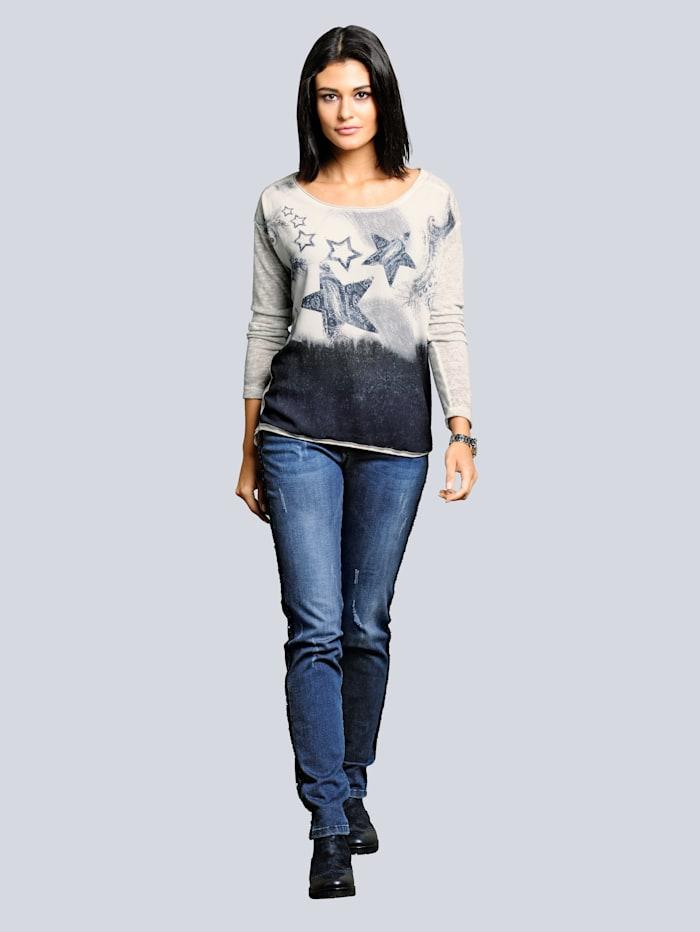 Jeans met paillettenband aan de zijnaden