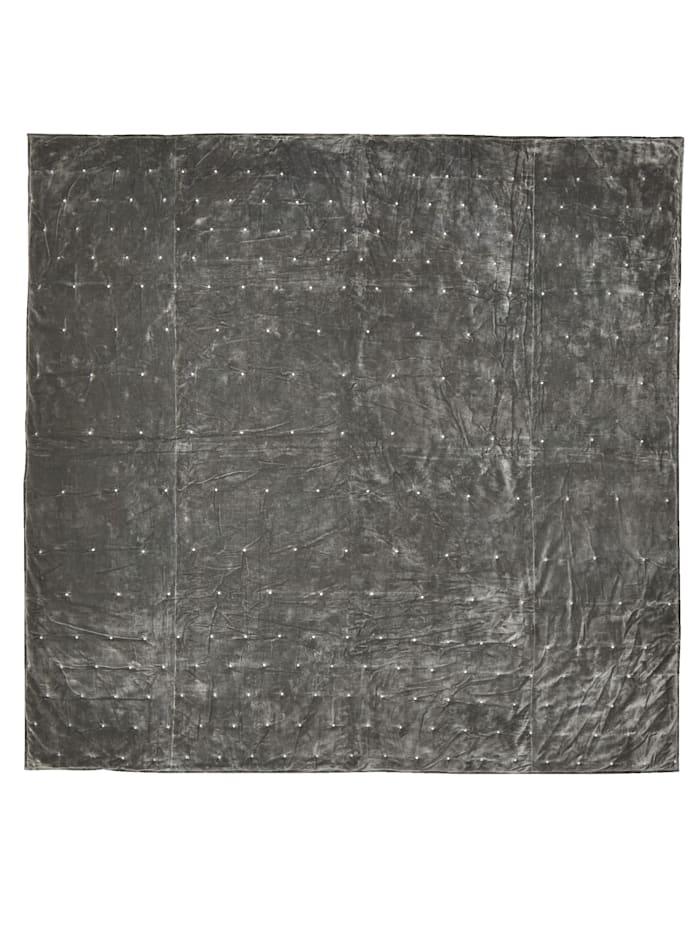 IMPRESSIONEN living Bettüberwurf aus Samt, grau, Grey