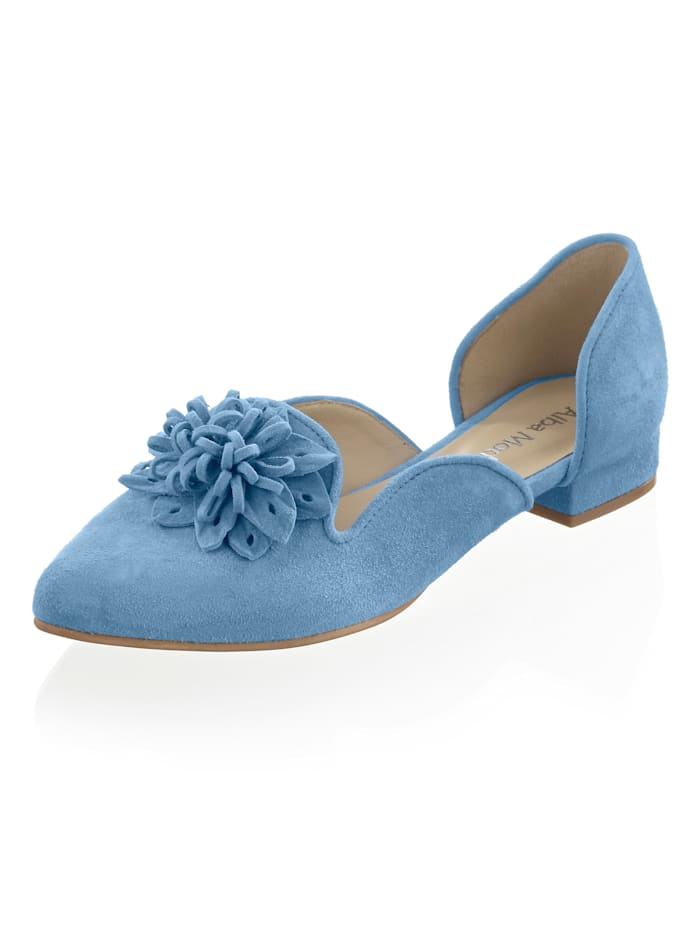 Alba Moda Ballerines à application florale en cuir, Bleu ciel