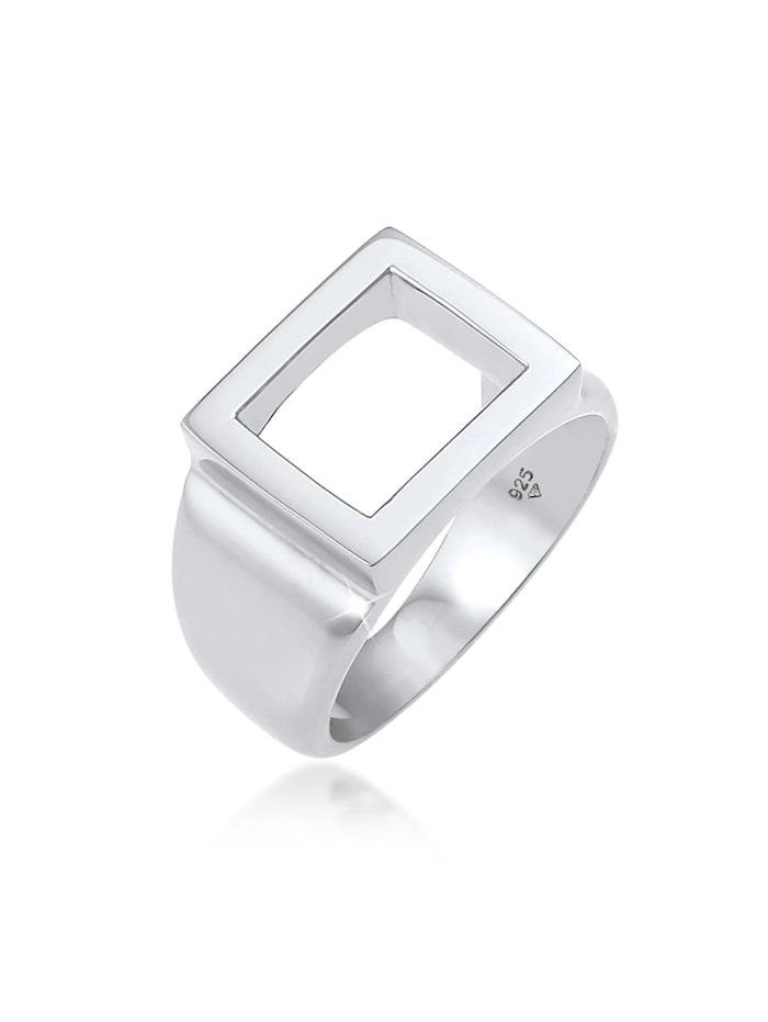 Kuzzoi Ring Siegelring Herren Rechteckig 925 Silber, Silber