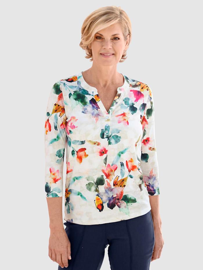 Paola Shirt met mooie print rondom, Wit