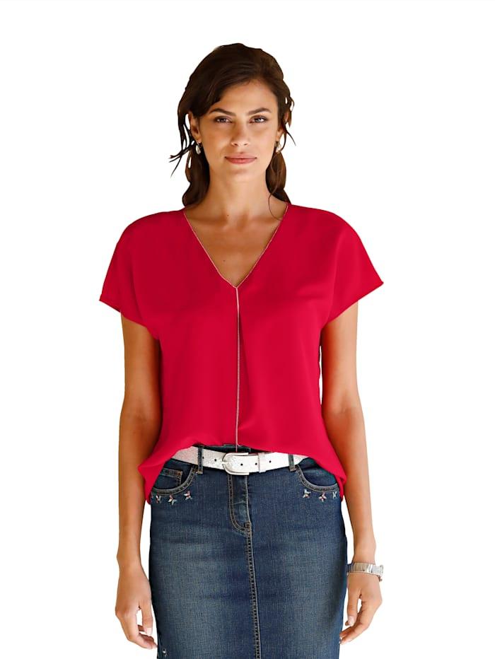 AMY VERMONT Bluse mit filigranem Kettendetail am Ausschnitt, Rot