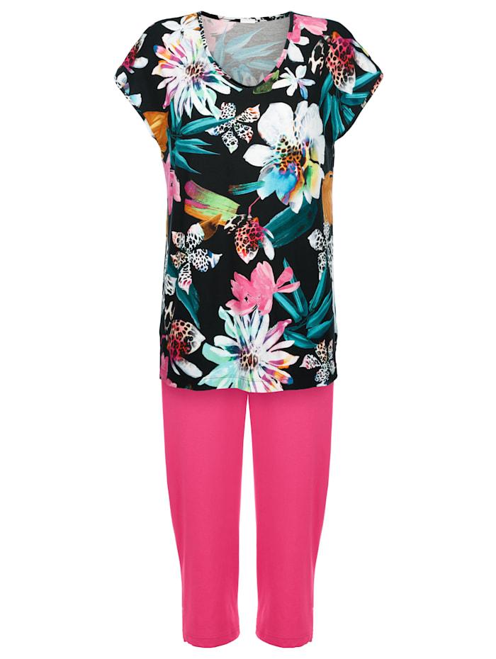 Maritim Strandanzug mit Blumendruck, Schwarz/Pink
