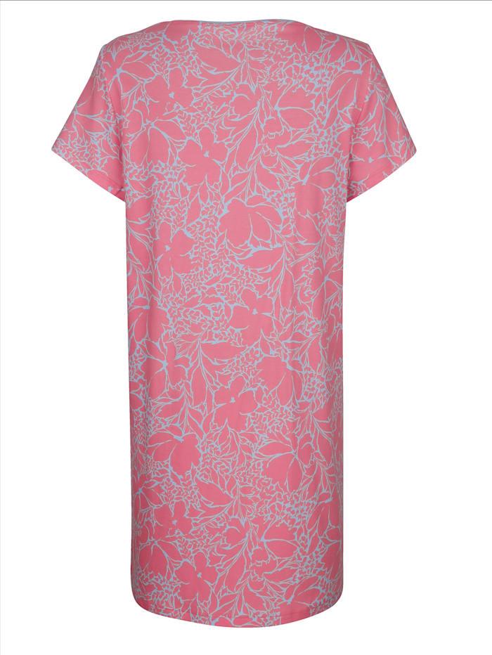 Nachthemd mit kontrastfarbenem Halsausschnitt