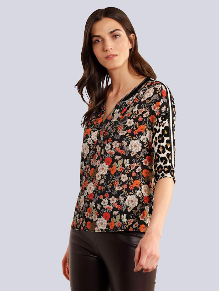 Bluse im farbharmonischen Blumendruck