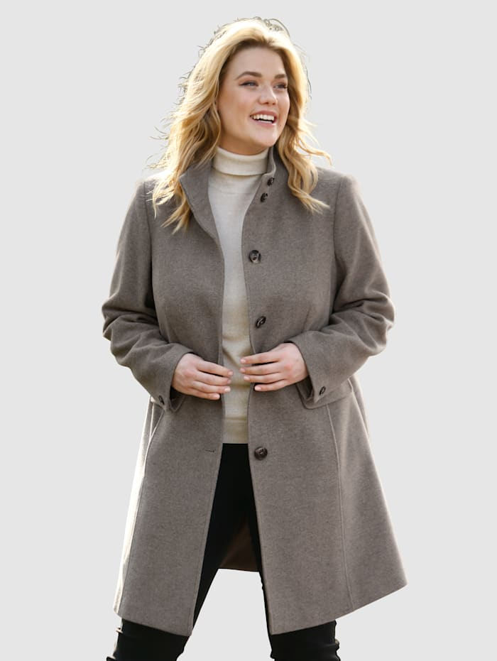 m. collection Manteau en laine Style raffiné, Taupe
