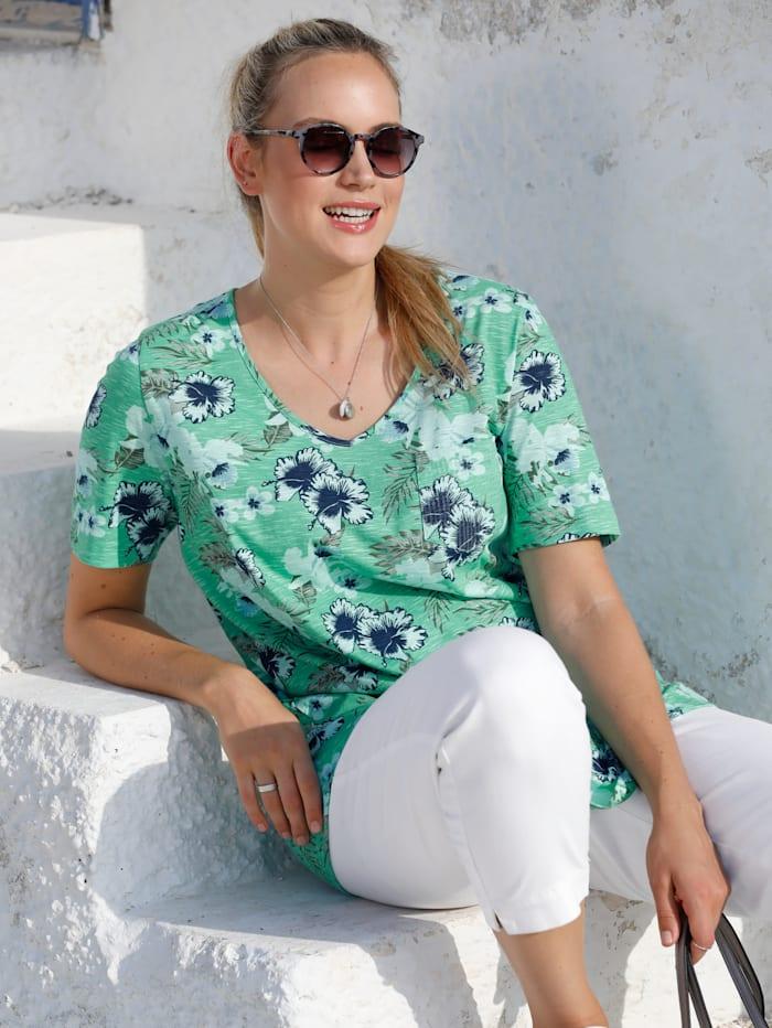 MIAMODA T-shirt à imprimé floral, Vert