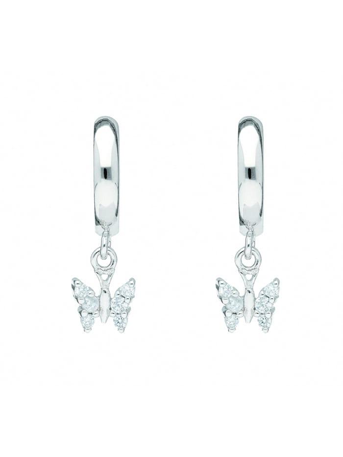 1001 Diamonds Damen Silberschmuck 925 Silber Ohrringe / Creolen Schmetterling mit Zirkonia Ø 11,9 mm, silber