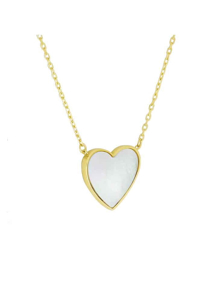 Fascination by Ellen K. Collierkette 375/- Gold Perlmutt weiß 43+2cm Glänzend, gelb
