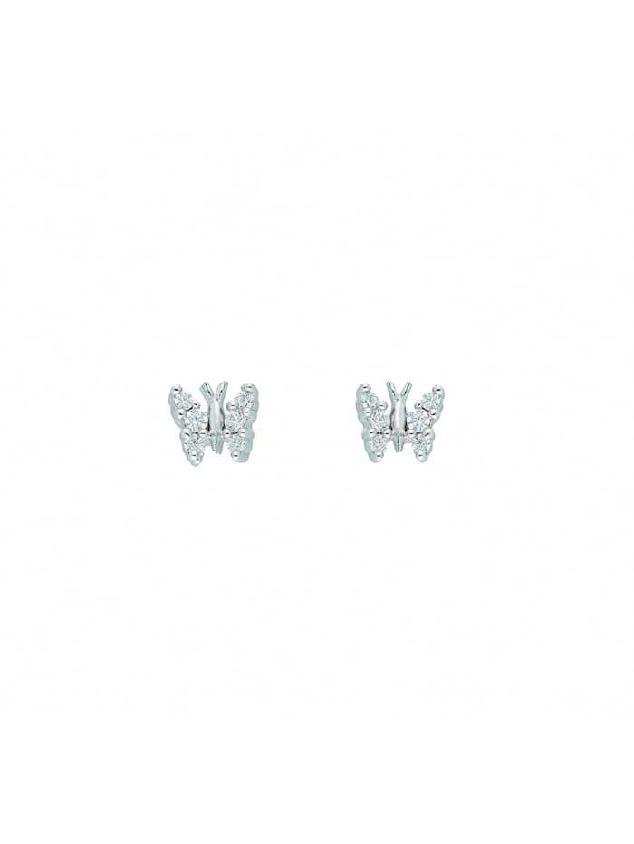 1001 Diamonds Damen Silberschmuck 925 Silber Ohrringe / Ohrstecker Schmetterling mit Zirkonia, silber