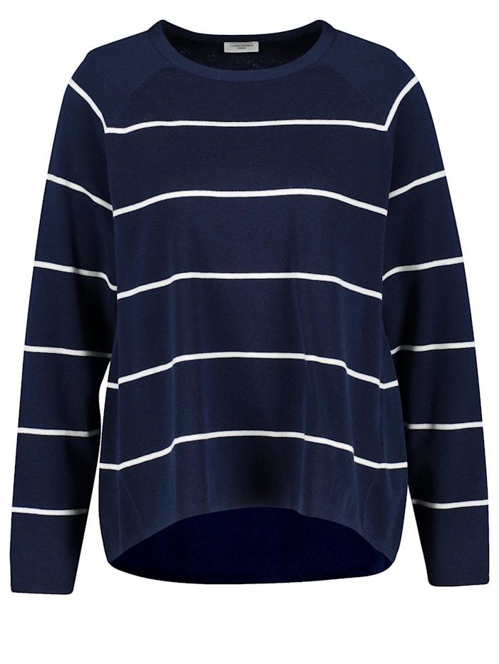 Gerry Weber Geringelter Oversize-Pullover, Blau/Ecru/Weiss Ringel