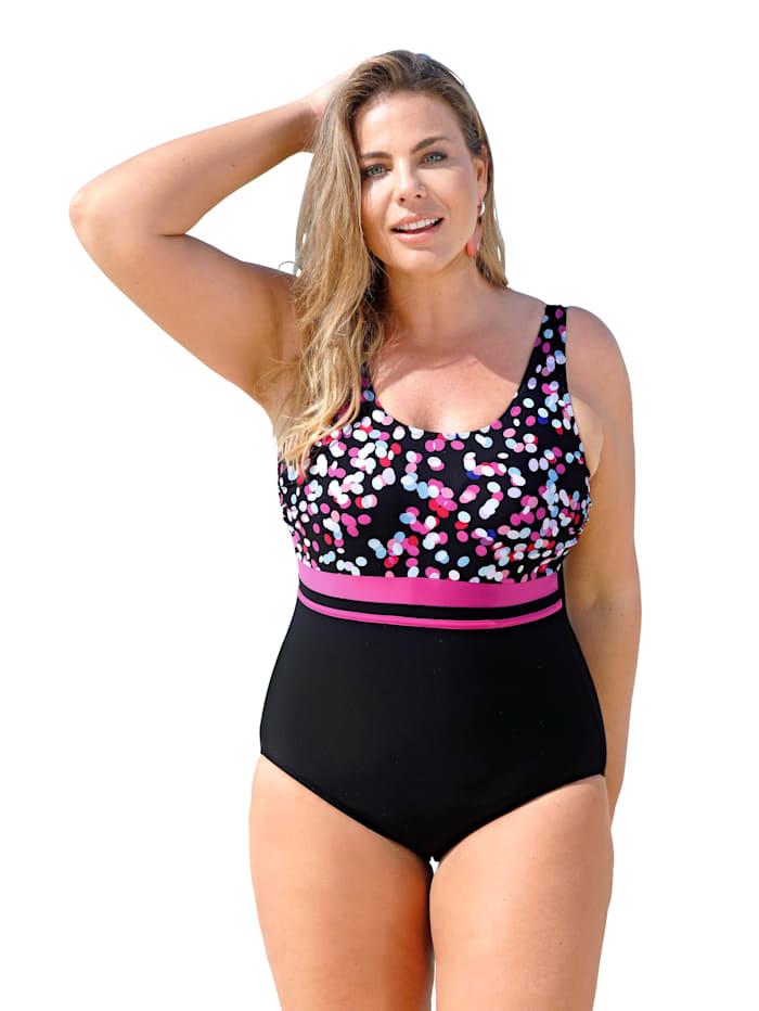 Maritim Badeanzug mit frischen Farbakzenten, Schwarz/Pink