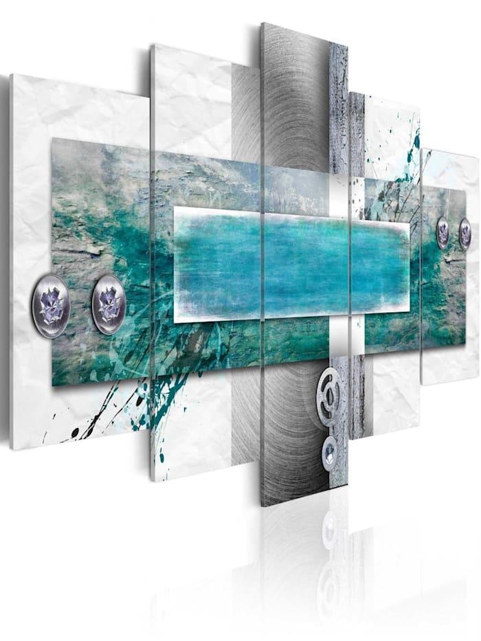 artgeist Wandbild Flood tide, Grau,Silber,Türkis,Weiß