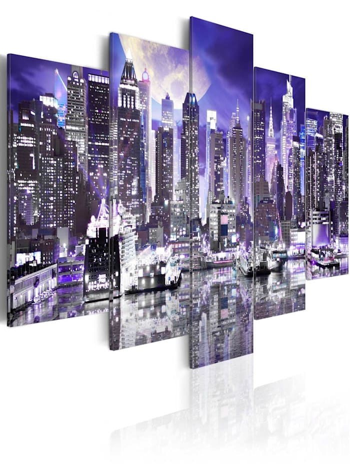 artgeist Wandbild Moonlit night in New York City, Violett,Weiß,Schwarz