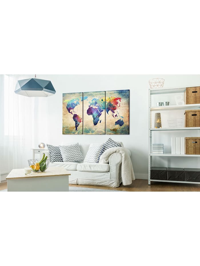 Wandbild Bunte Weltkarte - Triptychon