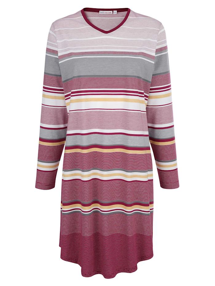 Hajo Nachthemd in hochwertiger Klimafaser-Qualität, Bordeaux/Ecru/Grau