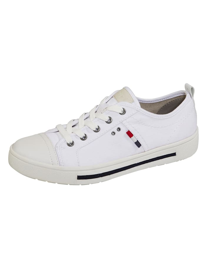 Jana Sneakers d'aspect lin estival, Blanc