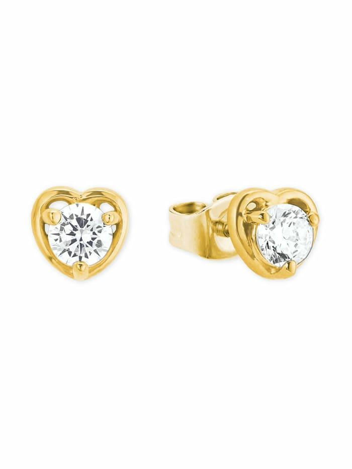 amor Ohrstecker für Damen, Sterling Silber 925, Herz, Gold