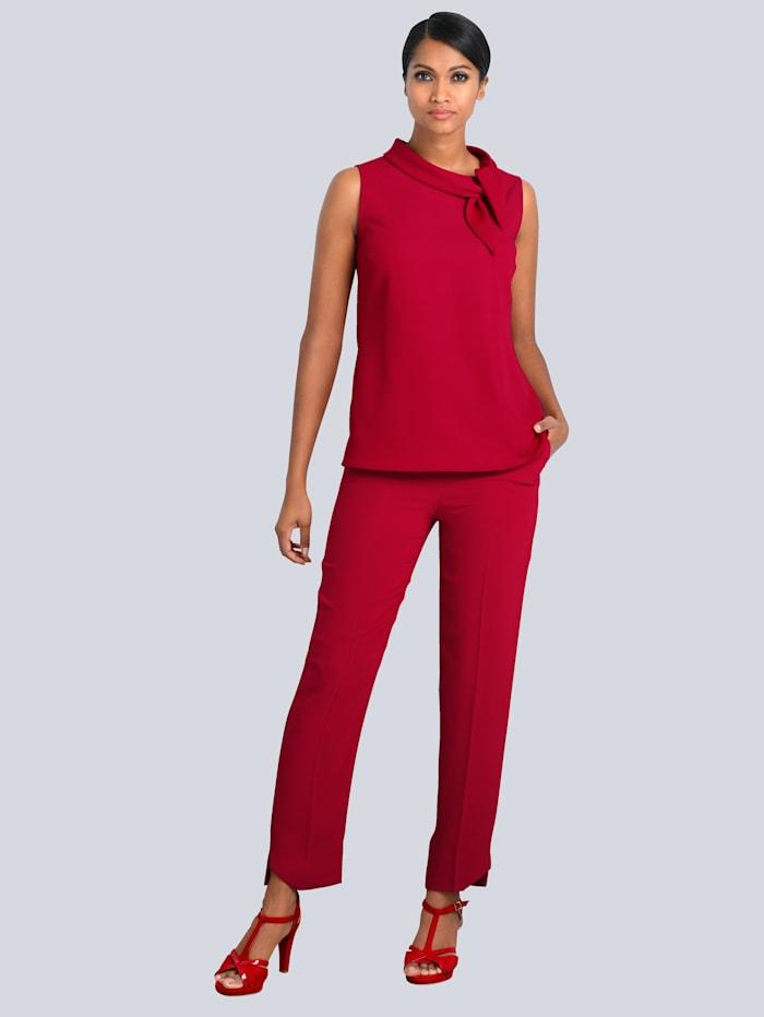 Alba Moda Hose mit leicht asymmetrischem Saum, Rot