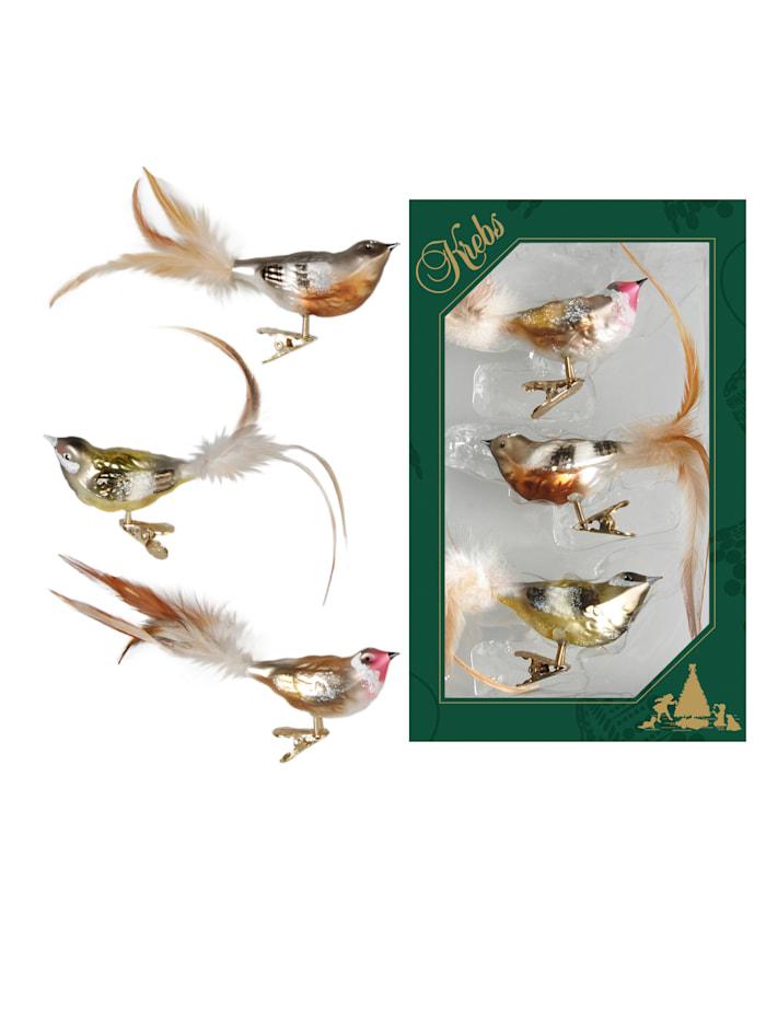 Vögel mit Clip, 3tlg.