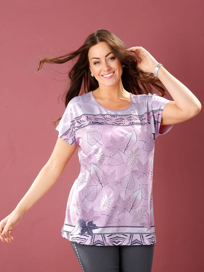 m. collection Shirt mit Mustermix, Rosé/Grau