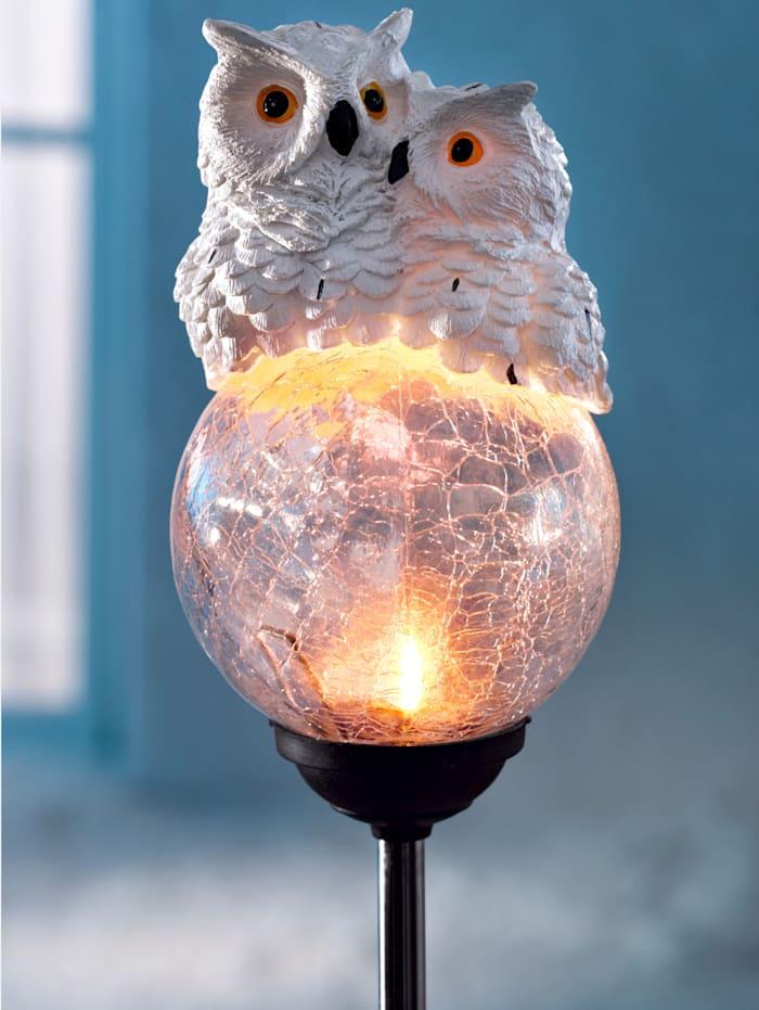 Solcellslampa – snöugglepar, Vit