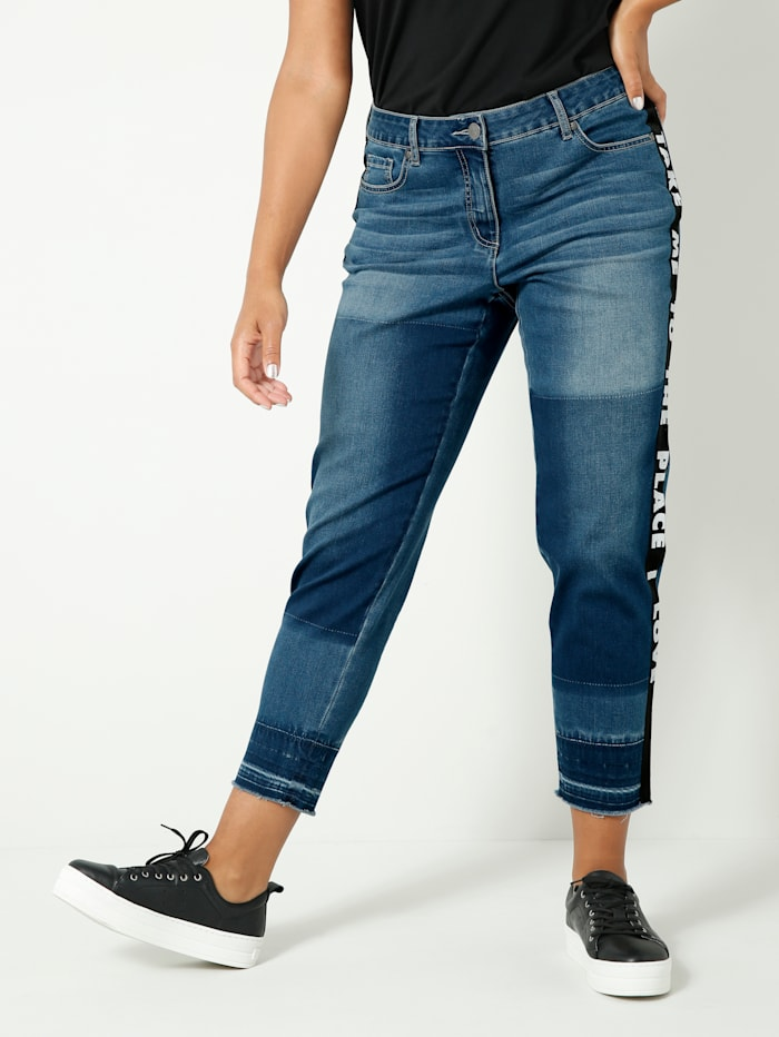 Angel of Style Jeans met modieus tape opzij, Blue stone