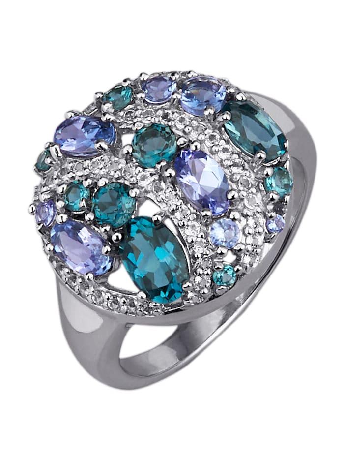 Bague avec pierres de couleur, Bleu