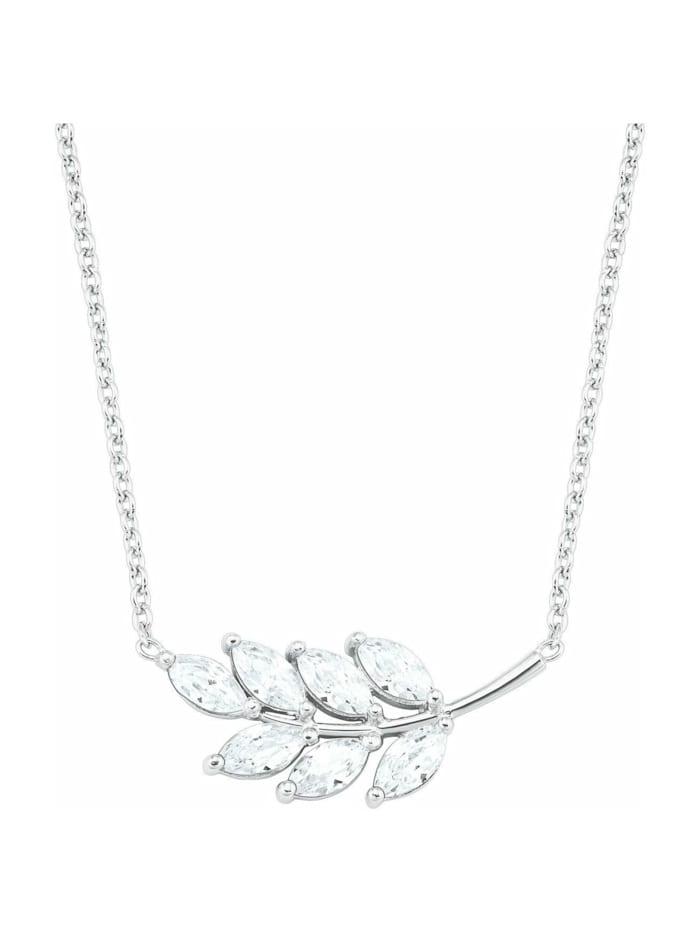 amor Kette mit Anhänger für Damen, Sterling Silber 925, Zirkonia Blatt, Silber