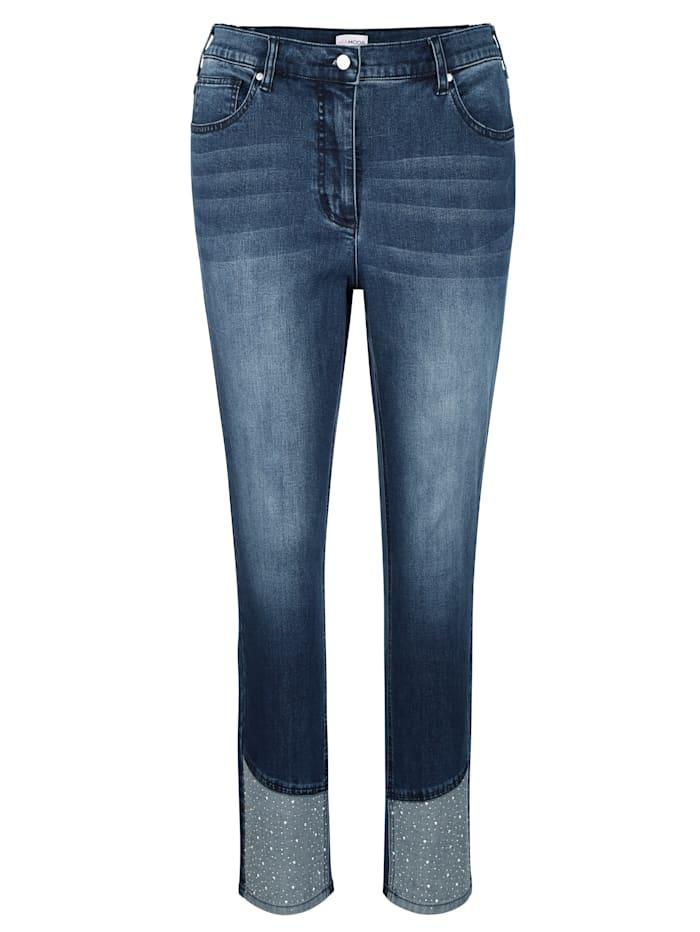 Jeans mit dekorativen Steinchen am Saum
