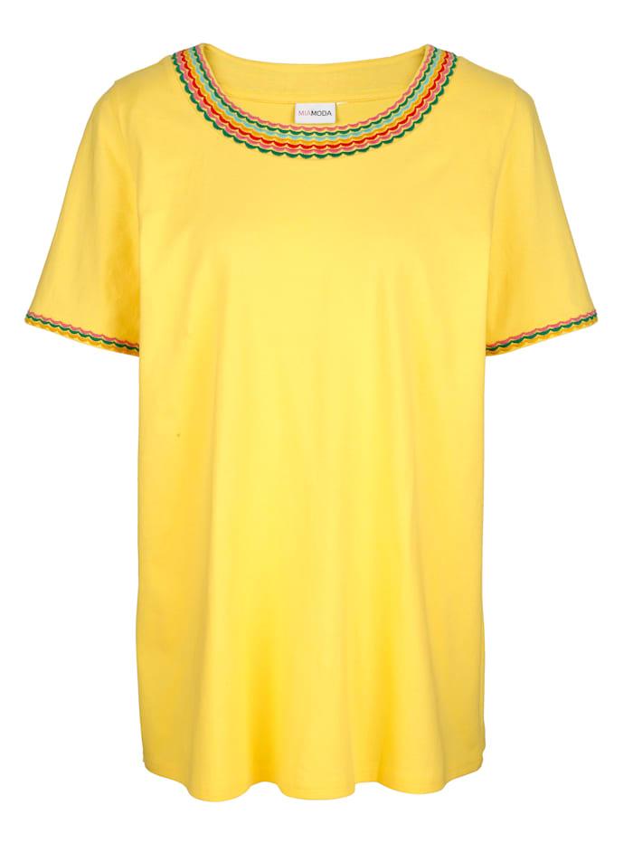 MIAMODA Shirt met mooi borduursel langs de hals, Geel