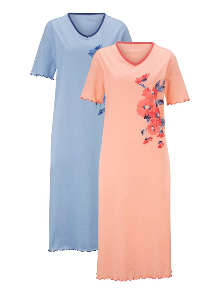 Harmony Nachthemd mit platziertem Floraldruck, Apricot/Hellblau