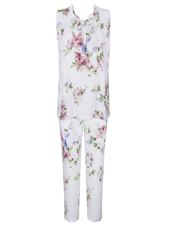 MONA Schlafanzug mit hübschen Rüschen am Halsausschnitt, Weiß/Rosé/Hellblau