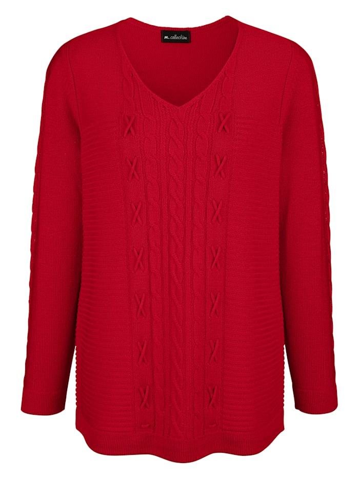 Pullover vorne mit verschiedenen Strickmustern